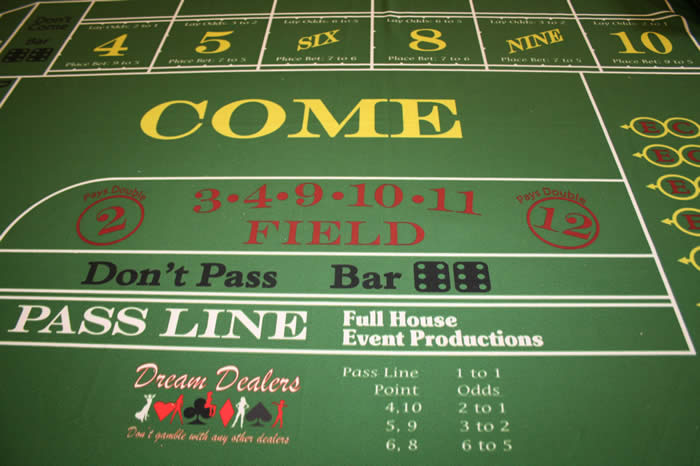 Dream Dealers Craps Layout with the various odds