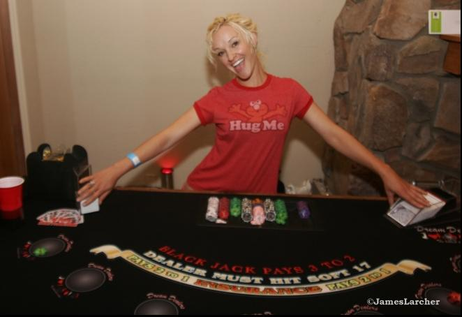 Jaime dealing at a pajama party