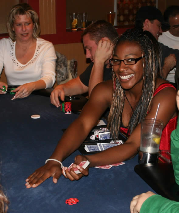 Crystal dealing Texas Hold'em at K O'Donnells Restaurant