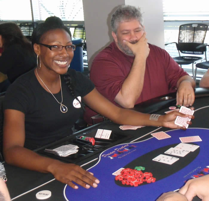 Crystal dealing Texas Hold'em at the Apollo Group Charity Poker Tournament